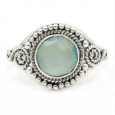 Flawless Faceted Aqua Chalcedony 925 Solid Sterling Silver Ring Jewelry Sz 9.5