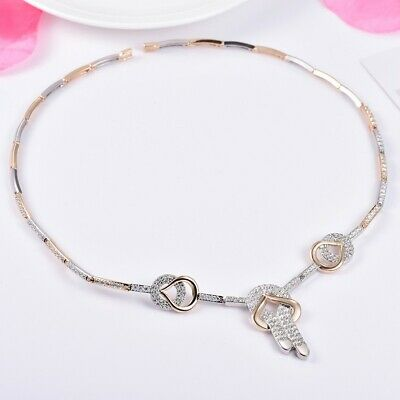 Unique Women Radiant Clear White Sapphire Crystal Gold Choker Necklace Jewelry
