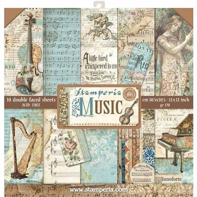 """Stamperia Paper Pack 12"""" x 12"""" Music Note 10pk Beautiful Double Sided Paper"""