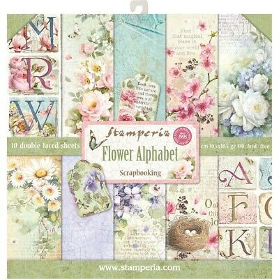 """Stamperia Paper Pack 12"""" x 12"""" """"Flower Alphabet"""" 10pk Beautiful D/Sided Paper"""
