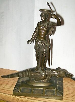 French Victorian Aesthetic Bronze St.george & Dragon Figural Incense Burner