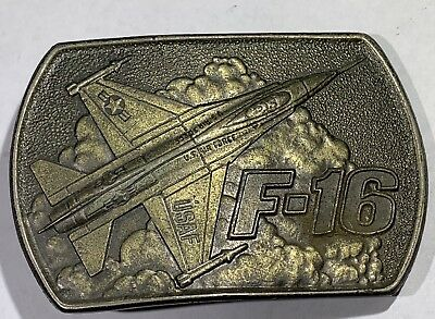 "BELT BUCKLE 3""1/4 INCH BY 2""1/8""INCH  METAL F-16 Fighter Jet"