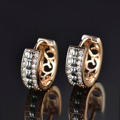 18K Two Tone Clear White Sapphire Crystal Dignified Lady Huggie Earrings Jewelry