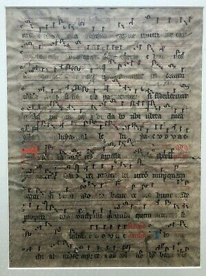 12th century two-sided framed vellum leaf from a hymnal, Latin, free shipping