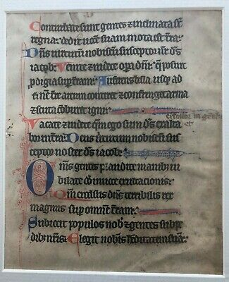 14th century two-sided framed vellum leaf from a missal, Latin, free shipping