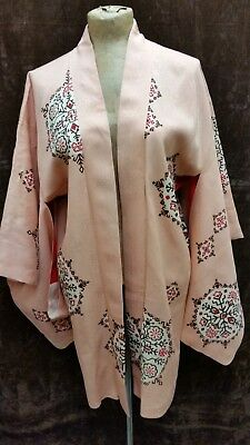 Vintage Peach Pink Tan Brown Red Rayon Kimono Robe One Size Regular
