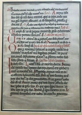 15th century two-sided framed vellum leaf from a missal, Latin, free shipping