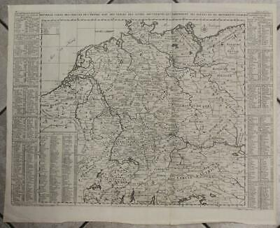 Germany Poland Netherlands Luxembourg Belgium Large 1719 Chatelain Antique Map