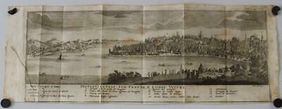 Istanbul (Constantinople) 1739 Salmon Unusual Antique Copper Engraved City View