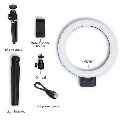 """7""""2800-5500K LED Dimmable Studio Camera Ring Light Lamp Photo Video w/ Tripods"""