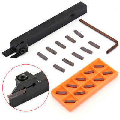 10pcs MGMN200 2mm Carbide Inserts + MGEHR1212-2 CNC Grooving Cut-Off`Tool Holder
