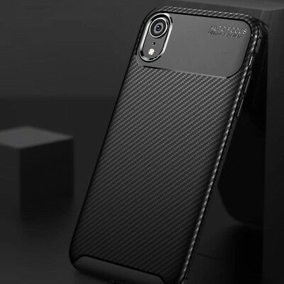 For iPhone 8 7 6 Plus XS Max Carbon Fibre Soft TPU Hybrid Shockproof Case Cover