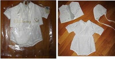 Vtg Phyllis Baby Wear BOYS 3pc Infant Vest Hat/Bonnet Romper Christening Outfit