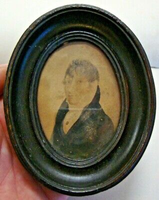 Dated 1805 George III portrait miniature of young gentleman watercolour on card