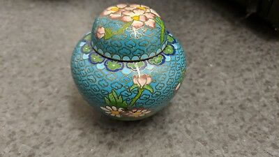 Cloisonne ginger jar enamel and copper 8cm high