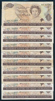 "New Zealand: 1981 $1 Hardie QEII ""COLLN 40 DIFFERENT PREFIXES"". P169a F to EF"