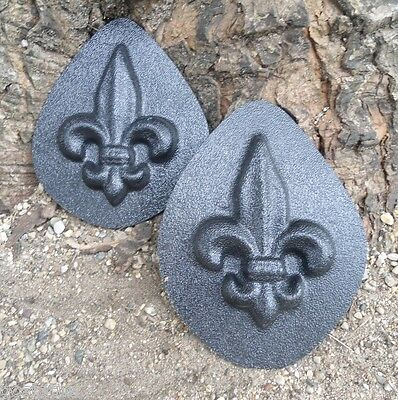 "2 small  fleur de lis molds embellishments plaster cement moulds 4"" x 3"" x 1/3"""