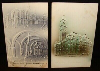 New York City Hall Underground RR & Detroit Post Office 2  Vintage Postcards