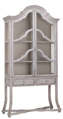 French Country Arched Pine Wood Cabinet,Glass Doors,100''H.