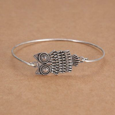 Fashion NEWInfinity Silver Bangle Bracelet Minimalis Owl Charm Jewelry Gift New