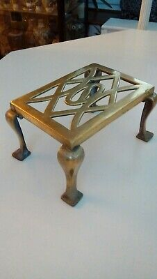 Antique Victorian Brass Rectangular Trivet Fireside Kettle Teapot Stand 8.5""