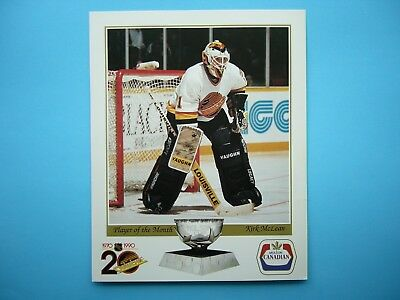1989/90 Vancouver Canucks Player Of The Month Nhl Hockey Photo Kirk Mclean Sharp