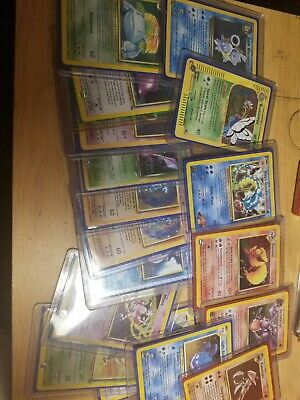 Random OLD Vintage Pokemon 10 Card LOT 1 holo and 1 first edition