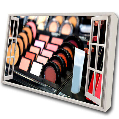 Make-Up Counter Cosmetics Face Framed Wall Canvas 3D Art Picture Mount Room C479