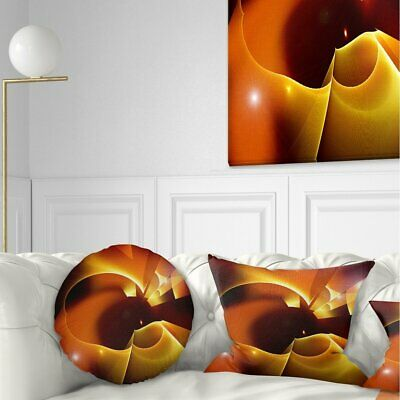 Designart 'Warm Yellow Red Fractal Design' Abstract Throw Pillow