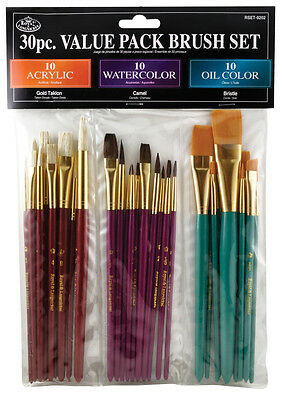 30 pc Paint Brush Set VALUE Acrylic Watercolor Oils Royal Langnickel RSET-9202