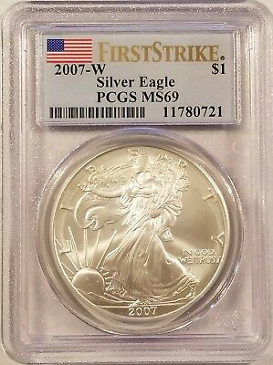 2007-W American Eagle 1oz .999 Fine Silver Bullion PCGS MS69 - First Strike