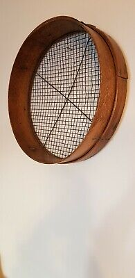 Antique Lg Wood & Brass Screen Grain Sifter Nailed Overlap Seams Nice