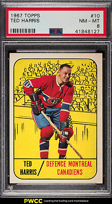 1967 Topps Hockey Ted Harris #10 PSA 8 NM-MT (PWCC)