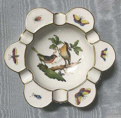 HEREND Hungary #7700 Ashtray ROTHSCHILD Bird Beetle Butterfly LARGE DISH