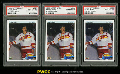 Lot(3) 1990 Upper Deck Young Guns Pavel Bure ROOKIE RC #526, ALL PSA 10 (PWCC)