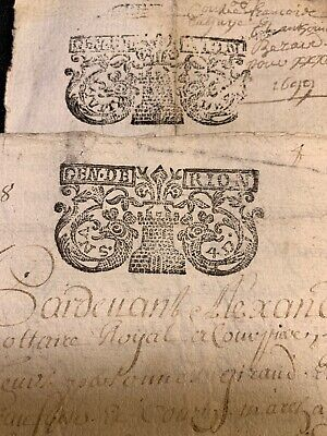 Lot Of Two Manuscripts  1698, 1699