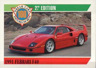 1991 Ferrari F40 Italy, Dream Cars Trading Card Sports Automobile - Not Postcard