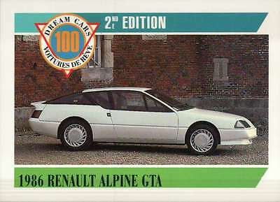 1986 Renault Alpine GTA, Dream Cars Trading Card, Automobile --- Not Postcard
