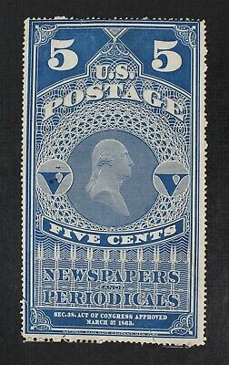 CKStamps: US Newspaper Stamps Collection Scott#PR5 5c Used Tear Tiny Thin