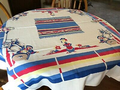 "VTG COLORFUL STARTEX SOUTHWESTERN MEXICAN TABLECLOTH 58"" x 54""  #2"