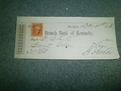 1866 Branch Bank Of Kentucky, Franfort Ky Bank Check W/revenue Stamp