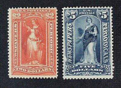 CKStamps: US Newspaper Stamps Collection Scott#PR120 Mint H OG, #PR121 NG, Thin