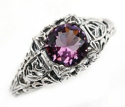 1CT Amethyst 925 Solid Sterling Silver Filigree Ring Jewelry Sz 9