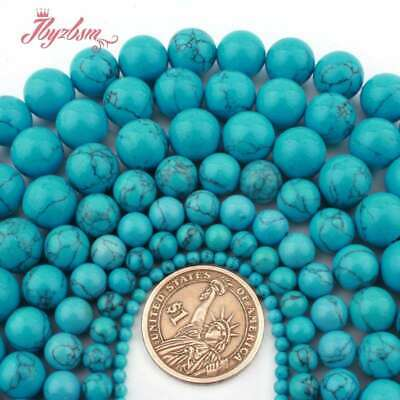 """Round Blue Smooth Turquoise Natural Stone Loose Bead for Jewelry Making 15""""DIY"""