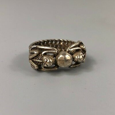 chinese Antique Rare Collectible Tibet Silver Handwork Frog Prince No.9.5 Ring