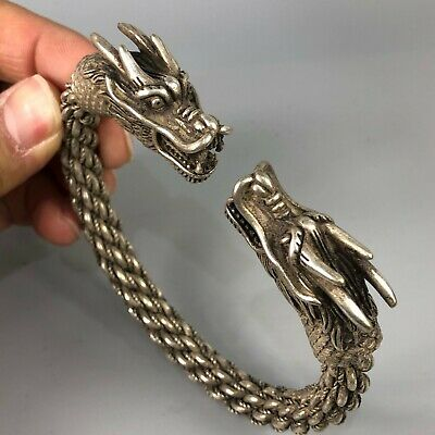Rare Chinese Antique Collectible Tibet Silver Handwork Dragon Chinese Bracelet