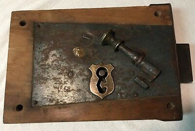 18th Century Antique Large Oak Wood Door Lock Working , Key, Keeper  & Keyhole