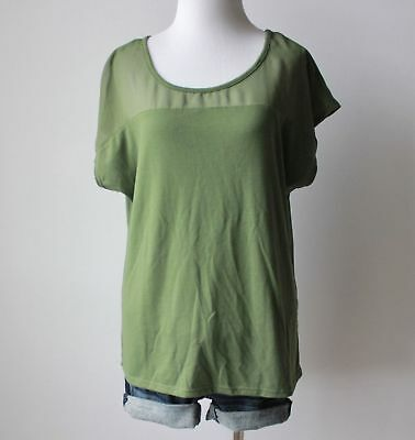 Ladies Army Olive Green Chiffon Scoop Neck Dolman Sleeve Knit Shirt Top Blouse L