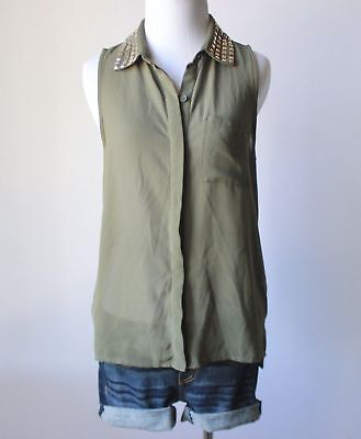 Juniors Army Green Button Down Shirt Studded Chiffon Blouse Sleeveless Top M