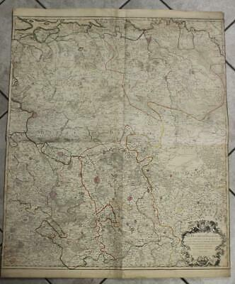 Brabant Belgium 1698 Haillot Wall Two Sheets Antique Copper Engraved Map